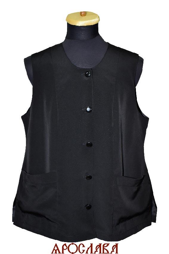 АРТ1782. Жилет женский,ткань мокрый шелк, на подкладе, два нижних накладных кармана.