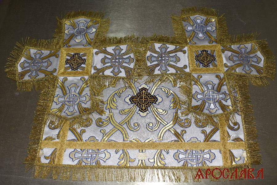 АРТ1787. Покровцы греческая парча, отделка греческий галун, бахрома витая греческая.