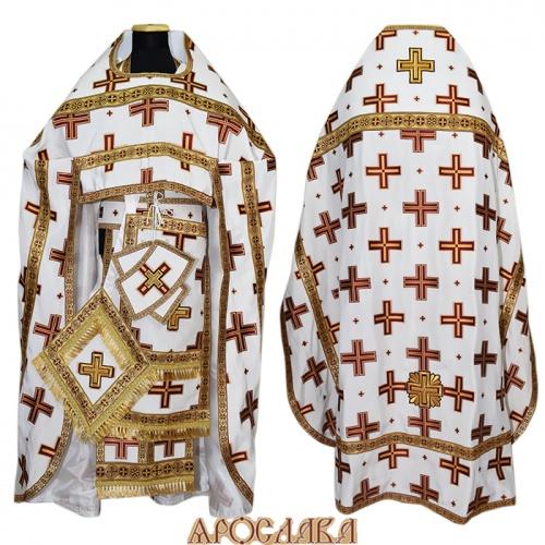 АРТ179. Риза белая с красными крестами, греческий шелк Прямой крест, отделка цветной галун (бордо с золотом).