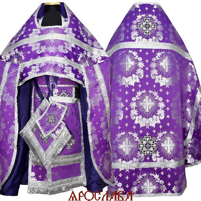 АРТ1800. Риза фиолетовая с серебром шелк Крест ажурный,обыденная отделка (цвет серебро).