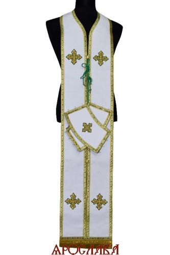 АРТ1808 Требный набор по греческому типу,ткань белый лен,отделка цветной галун.