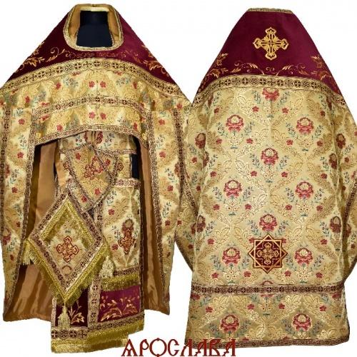 АРТ1820  Риза желтая греческая парча Пион. Комбинированная с вышивкой рисунок Благородный: власяница,окошки епитрахили, низ набедренника.Ткань надставок бархат.