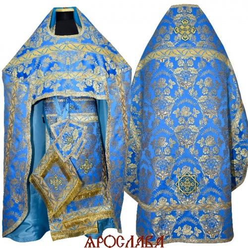 АРТ1821. Риза парча Радонежский, отделка цветной галун (голубой с золотом)