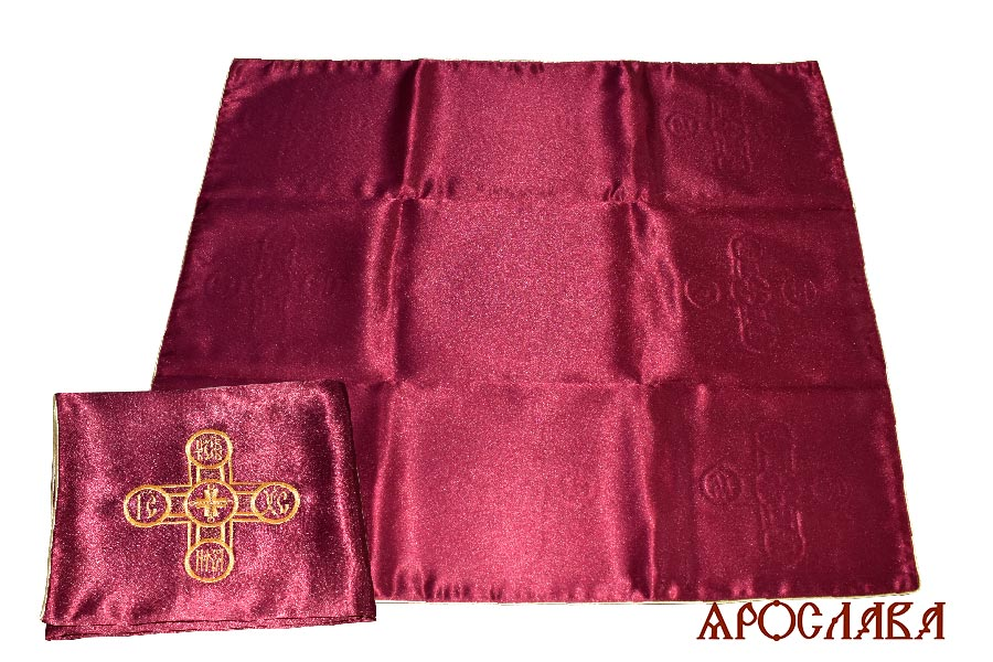 АРТ1825.Илитон на престол вышитый с печатью крест Царь-Славы.Размер 80*70.Ткань бордовый креп-сатин.