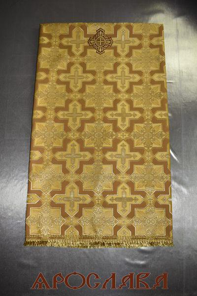 АРТ1833 Скатерть желтая шелк Кустодия,отделка простая бахрома,с крестом. Размер:145*145