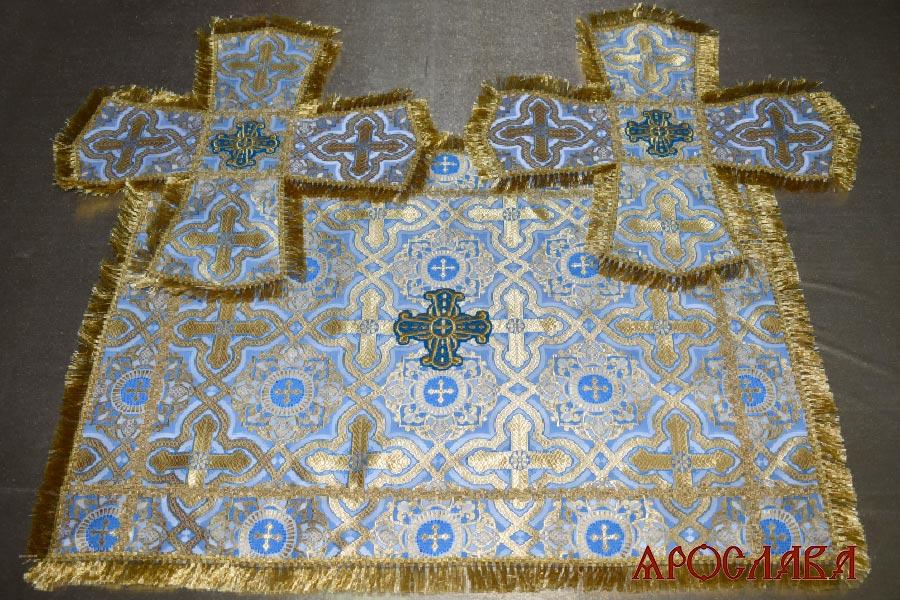 АРТ1839. Покровцы голубые с золотом шелк Златоуст, отделка тесьма, бахрома.