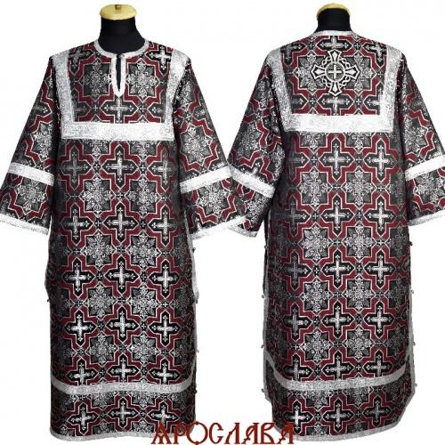 АРТ 1844. Стихарь черно-бордовый шелк Кустодия, обыденная отделка (цвет серебро).