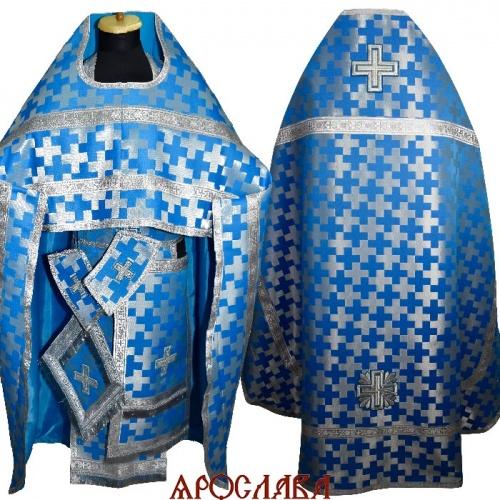 АРТ1846. Риза голубая с серебром парча Новгородский крест, обыденная отделка(цвет серебро).
