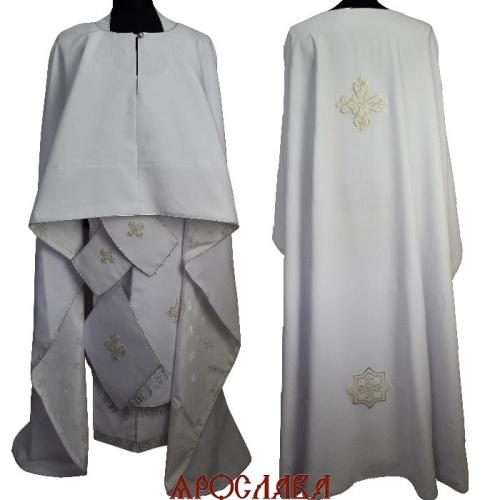 АРТ1848. Риза греческий крой, белый габардин,с кантом серебреного цвета, витая бахрома.