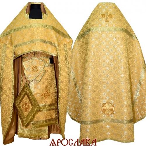 АРТ184. Риза желтый шелк Мирликийский крест,обыденная отделка (цвет золото).