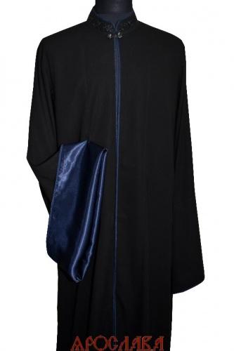 АРТ1856.  Ряса греческая, ткань мокрый шелк.Ворот вышитый рисунок № 19.Отделочный витой кант темно-синего цвета: ворот, борта, рукава.