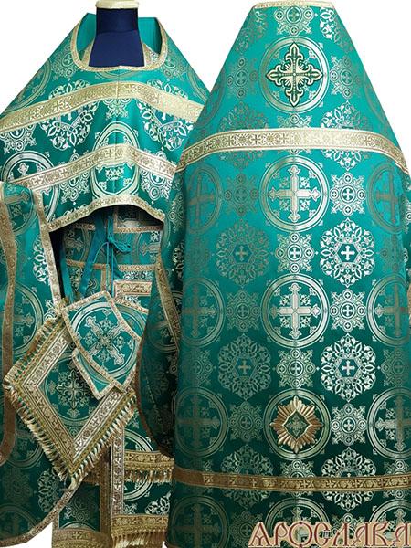 АРТ185. Риза зеленый шелк Карпатский,обыденная отделка (цвет золото).
