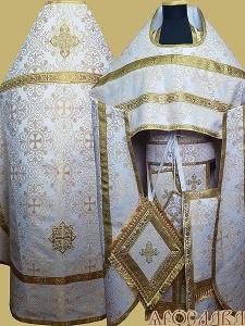 АРТ187. Риза бело-золотая парча Алтайский, обыденная отделка (цвет золото).