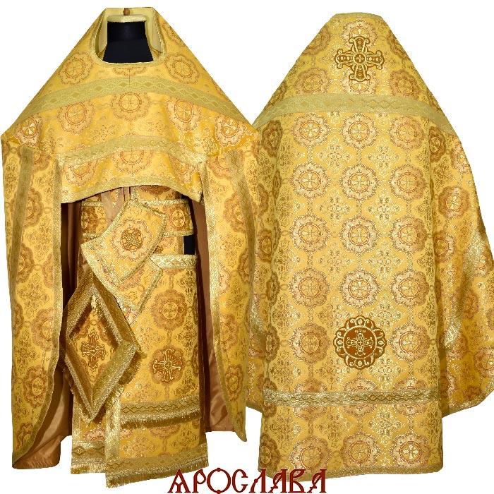 АРТ1891. Риза желтый шелк Муромский, отделка цветной галун(цвет золото).