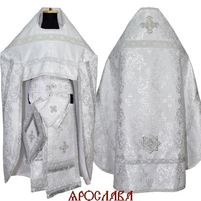 АРТ1892. Риза белая шелк Слуцкий, отделка цветной галун (белый с серебром)