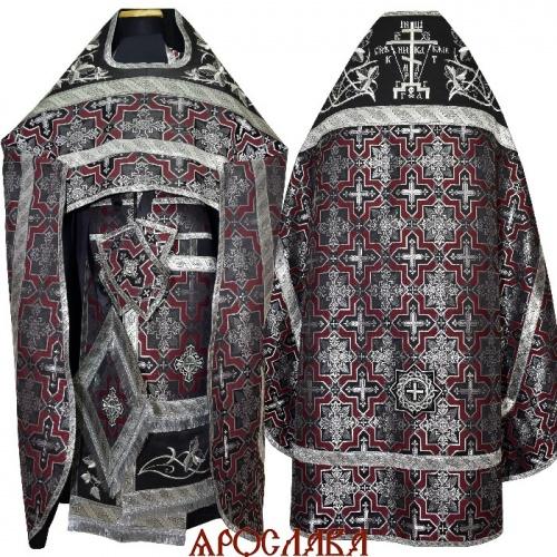 АРТ1897. Риза черно-бордовый шелк Кустодия. Комбинированная с вышивкой рисунок Терновый венец увеличенный: власяница, окошки епитрахили, низ набедренника.Вышитая Голгофа.