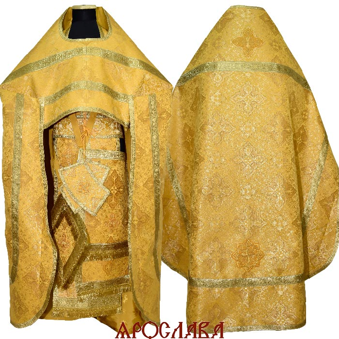АРТ1899.Риза желтый шелк Виленский,обыденная отделка (цвет золото).