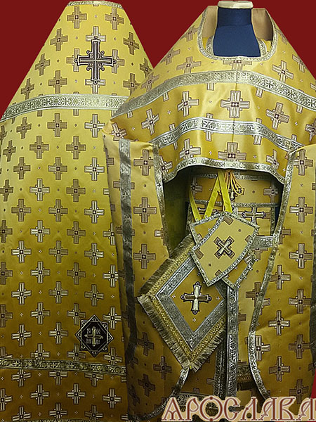 АРТ190. Риза желтая шелк Святительский, обыденная отделка (цвет золото).