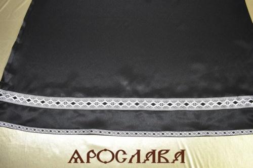 АРТ1911. Подризник с отделкой цветным галуном рисунок Волна.Ширина галуна 4 см и 1,7 см. Ткань креп-сатин.175/48.