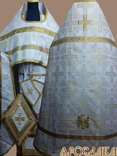 АРТ191. Риза бело-золотая парча Ивирон, обыденная отделка (цвет золото).