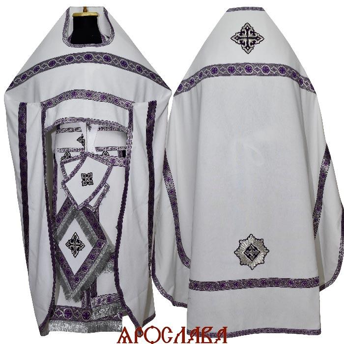 АРТ1927. Риза белый лен, отделка цветной галун (фиолетовый с серебром).