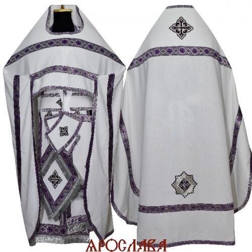 АРТ1927. Риза лен, отделка цветной галун (фиолетовый с серебром).