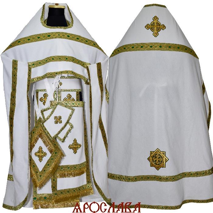 АРТ1928. Риза белый лен, отделка цветной галун (зеленый с золотом).