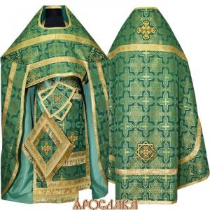 АРТ192. Риза зеленый шелк Кустодия, обыденная отделка (цвет золото).