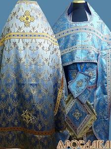 АРТ193. Риза голубая, греческая парча Виноград, отделка цветной галун (голубой с золотом).