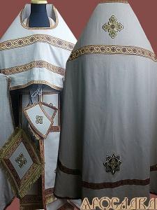 АРТ194. Риза бежевый лен, отделка цветной галун (бордовый с золотом).