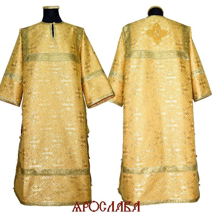 АРТ1953. Стихарь желтый шелк Каменный цветок, обыденная отделка (цвет золото).