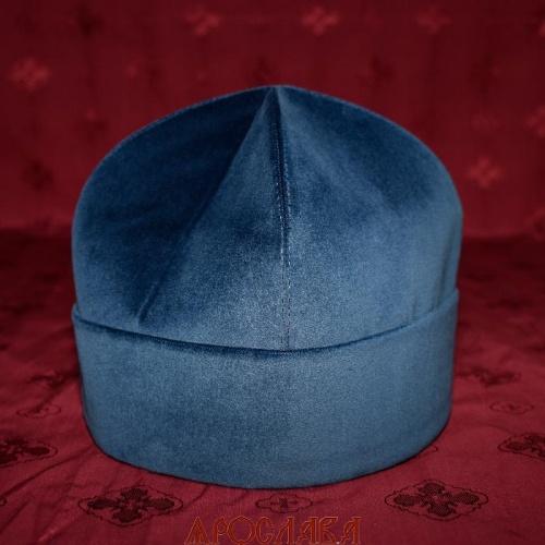 АРТ1962. Скуфия русская, демисезонная. Ткань темно-синий бархат. Подклад хлопок.