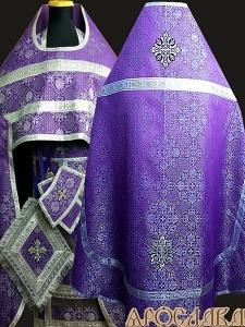 АРТ196. Риза фиолетовая с серебром парча Почаевский, обыденная отделка (цвет серебро).