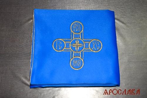АРТ1977. Илитон на престол вышитый с печатью Царь-Славы. Размер 80*70.Ткань однотонный атласный шелк.