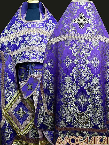 АРТ197. Риза фиолетовый с золотом шелк Слуцкий, отделка цветной галун(фиолетовый с золотом).