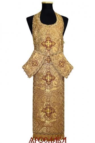 АРТ1980. Требный набор цельный греческая парча Ангелы, отделка цветной галун.