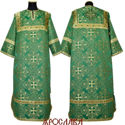 АРТ1987 Стихарь парча Алтайский,отделка цветной галун(зеленый с золотом).