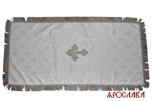 АРТ 1989. Накидка на гробницу шелк церковный,крест по центру,бахрома.