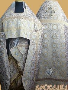 АРТ198. Риза бело-золотая парча Василия, отделка цветной галун(бело-золотой).