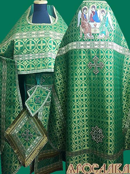 АРТ198. Риза парча Мирон, отделка цветной галун(зеленый с золотом). На оплечье вышитая икона Троица (большая)