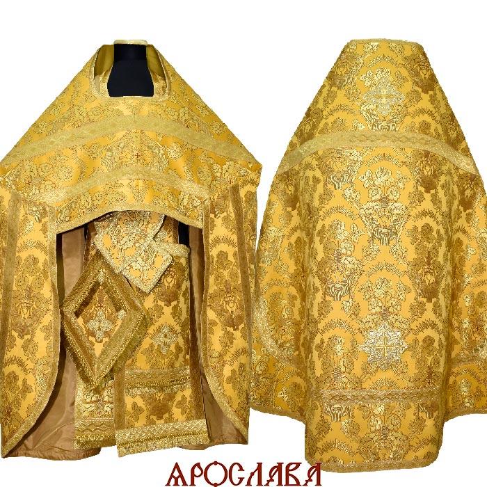АРТ2021. Риза  парча Радонежский, отделка цветной галун (желтый с золотом)