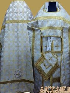 АРТ202. Риза бело-золотая парча Покровский, отделка цветной галун(цвет золото).