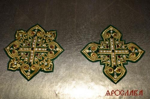 АРТ2046. Крест и звездица вышитые,украшены камнями.