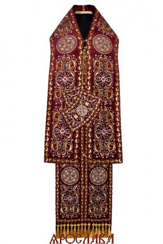 АРТ2053. Архиерейский требный набор вышитый рисунок Благозвонница. Ткань бархат.