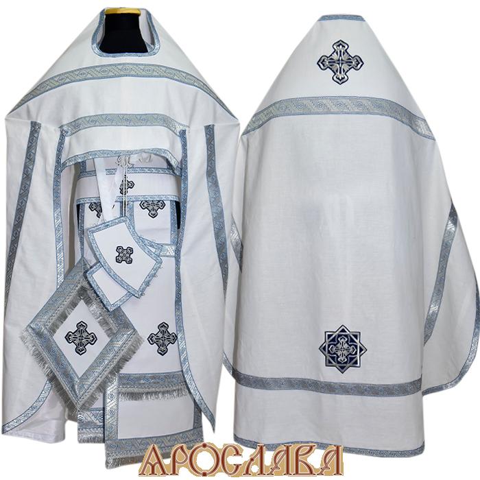 АРТ205. Риза лен, отделка цветной галун (голубой с серебром).
