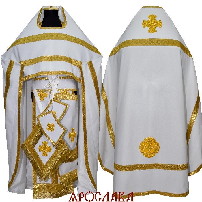 АРТ206. Риза лен, отделка цветной галун (цвет  золото).