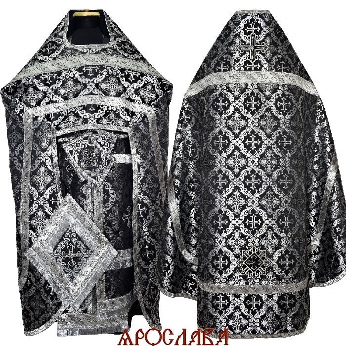 АРТ2075. Риза шелк Никольский, отделка цветной галун (черный с серебром).