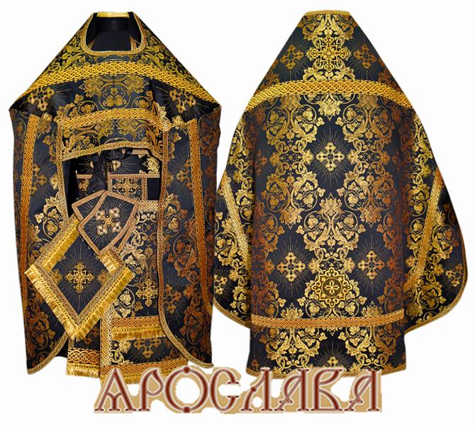 АРТ209. Риза парча Слуцкий, отделка цветной галун(черный с золотом).