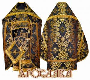 АРТ209. Риза черная с золотом парча Слуцкий, отделка цветной галун(черный с золотом).