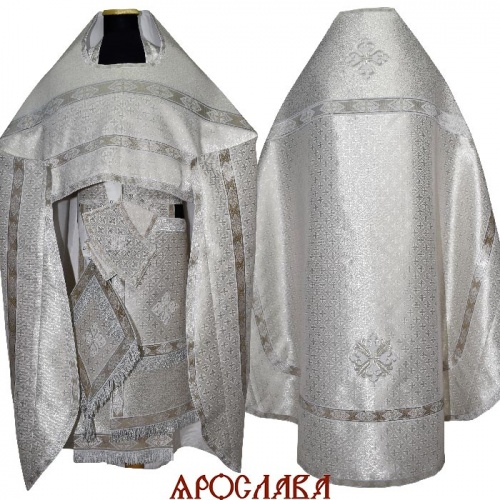 АКЦИЯ. АРТ2107. Риза парча Крещенская. Комбинированная с однотонной парчой Оренбург:власяница,окошки епитрахили,низ набедренника.